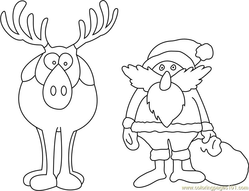 Santa and Deer Coloring Page