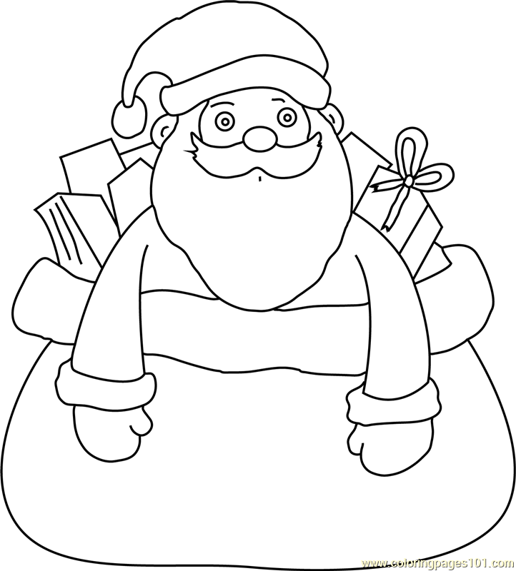 Santa himself in Giftbag Coloring Page