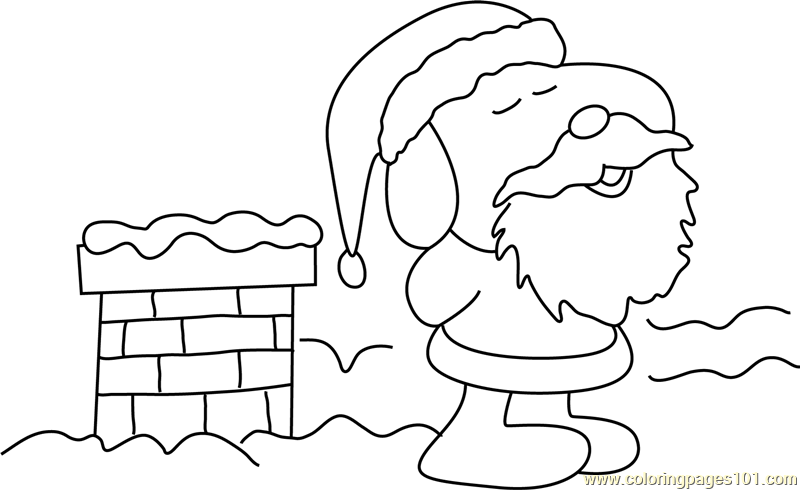 Santa on Roof Coloring Page