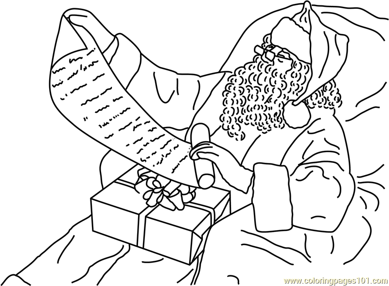 santa to do list coloring page