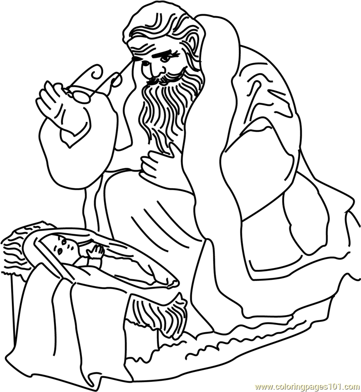 Santa with Baby Coloring Page