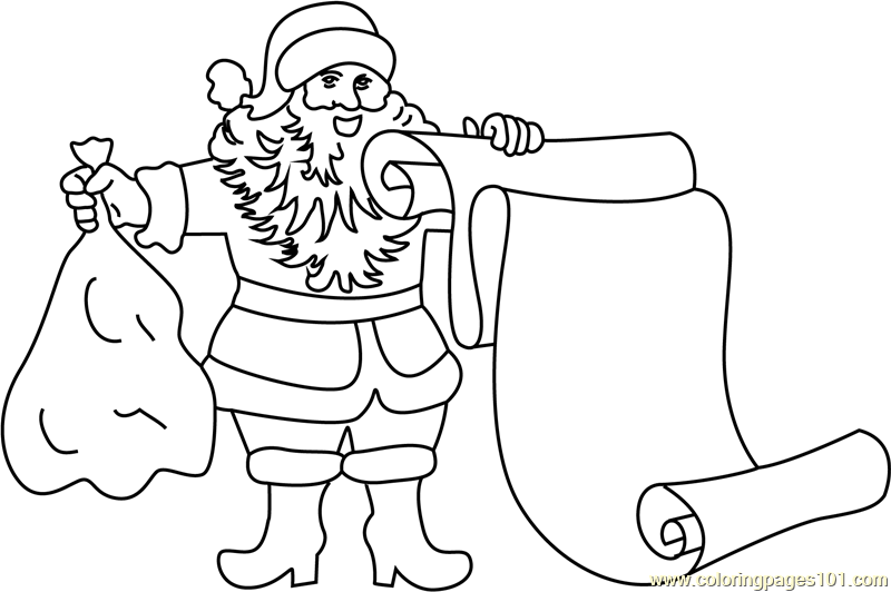 Santa with Scroll Coloring Page