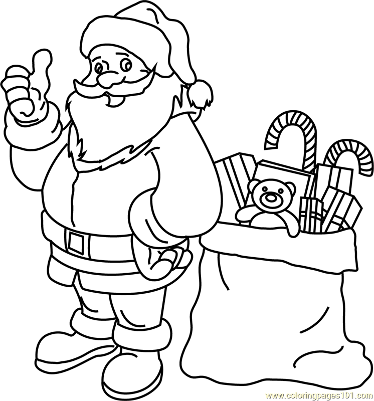 Santa with his Gift Bag Coloring Page