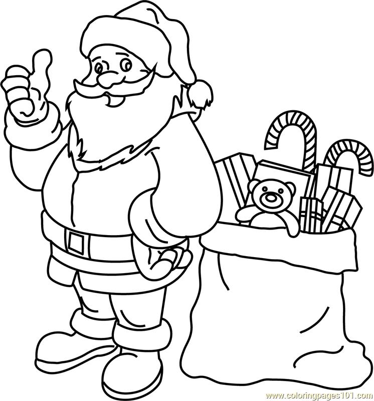 Santa With His Gift Bag Coloring Page