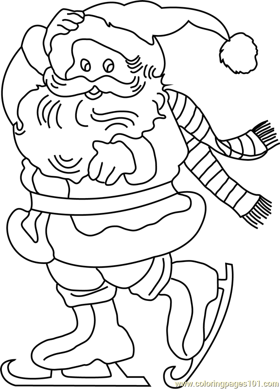Skate With Santa Coloring Page