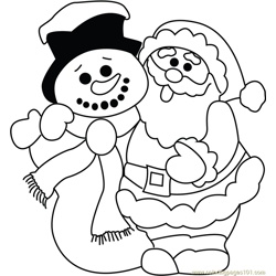 Funny Santa with Snowman Free Coloring Page for Kids