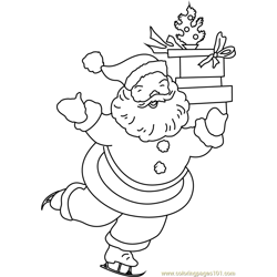Happy Santa with Gifts Free Coloring Page for Kids