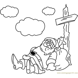 Santa Tired coloring page