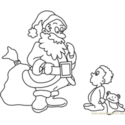 Santa gifting Baby Free Coloring Page for Kids