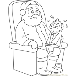 Santa trying Free Coloring Page for Kids