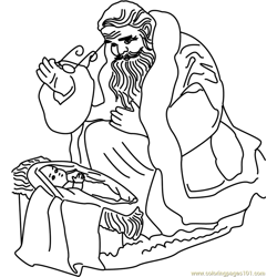 Santa with Baby Free Coloring Page for Kids
