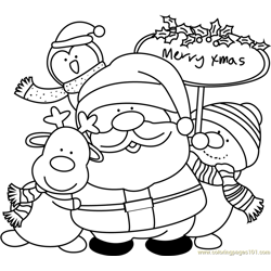 Santa with Friends Free Coloring Page for Kids