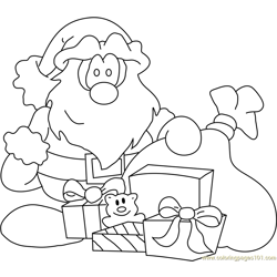 Santa with Gifts Free Coloring Page for Kids