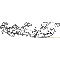 Santa with Reindeers Free Coloring Page for Kids