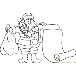 Santa with Scroll Free Coloring Page for Kids