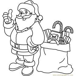 Santa with his Gift Bag Free Coloring Page for Kids