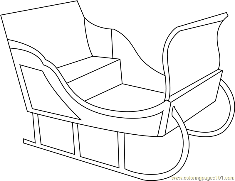 santas sleigh simple coloring page