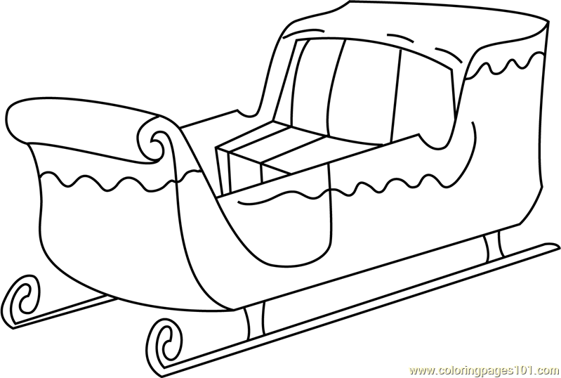 santa with sleigh coloring pages - photo#34