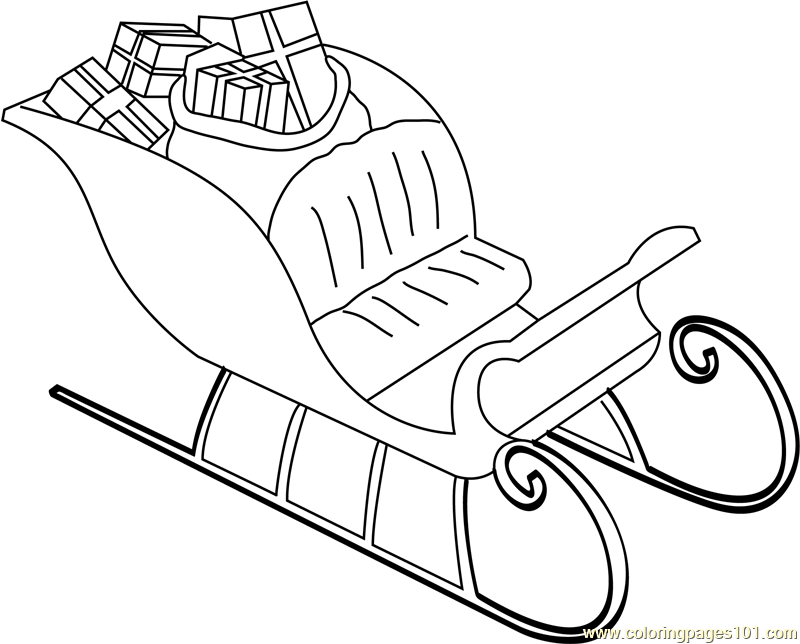 santas sleigh with gifts coloring page