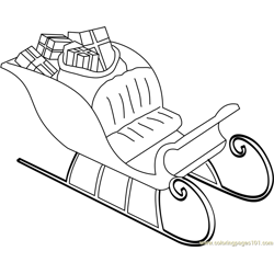 Santa's Sleigh with Gifts Free Coloring Page for Kids