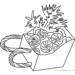 Sleigh with Candies Free Coloring Page for Kids
