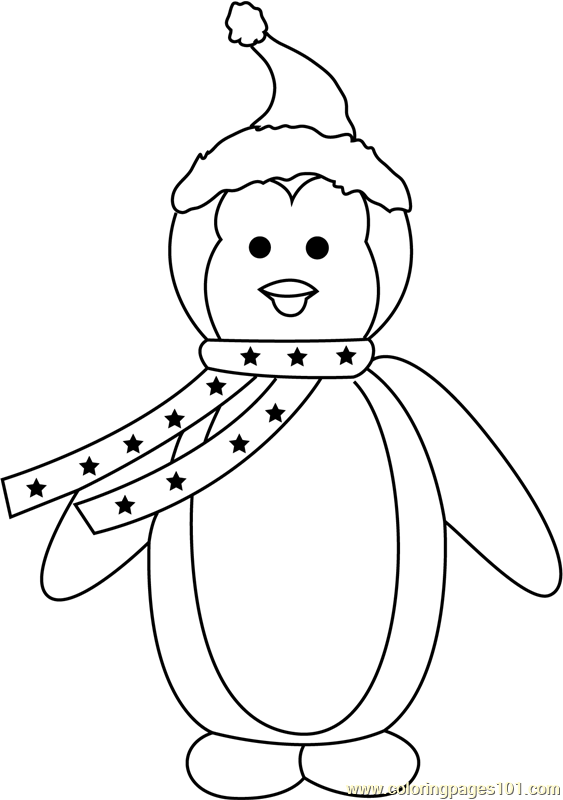 Christmas Penguin Coloring Page