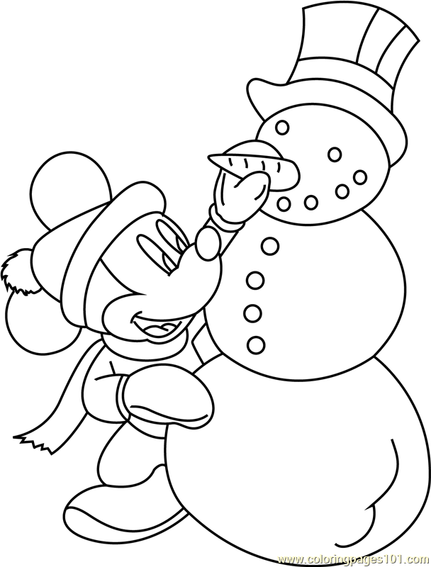 Mickey Mouse with Snowman Coloring Page
