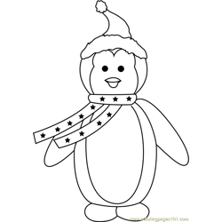 Christmas Penguin Free Coloring Page for Kids