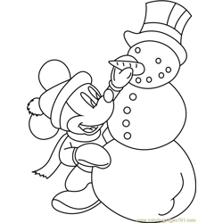 Mickey Mouse with Snowman Free Coloring Page for Kids