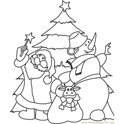 Santa Claus with Snowman Free Coloring Page for Kids