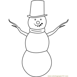 Simple Snowman Free Coloring Page for Kids