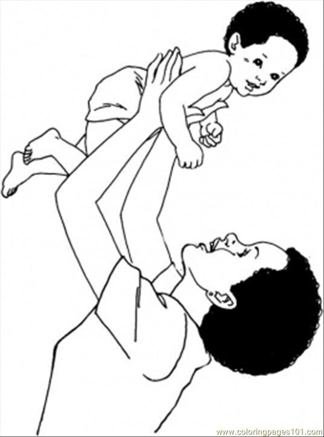 Dad With Son Coloring Page