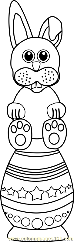 Easter Bunny over Egg Coloring Page