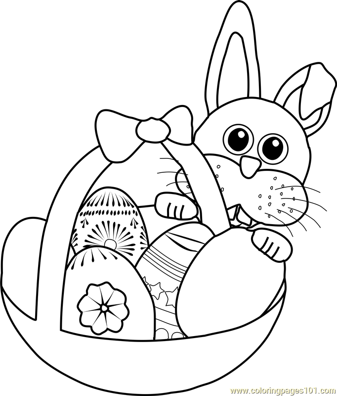 Easter Bunny with Basket Coloring Page - Free Easter ...