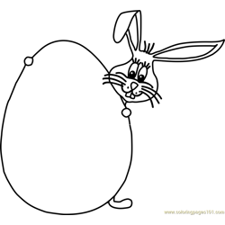 Easter Bunny behind Egg Free Coloring Page for Kids