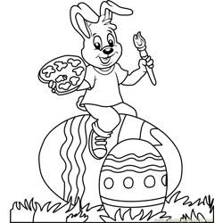 Easter Bunny on Egg Free Coloring Page for Kids