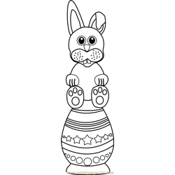 Easter Bunny over Egg Free Coloring Page for Kids