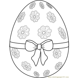 Easter Egg with Ribbon Free Coloring Page for Kids