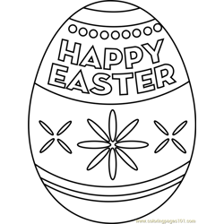 Happy Easter Egg Free Coloring Page for Kids