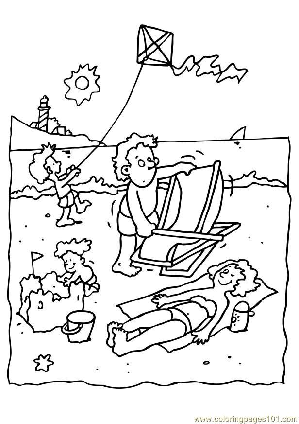 Beach Holiday Coloring Page