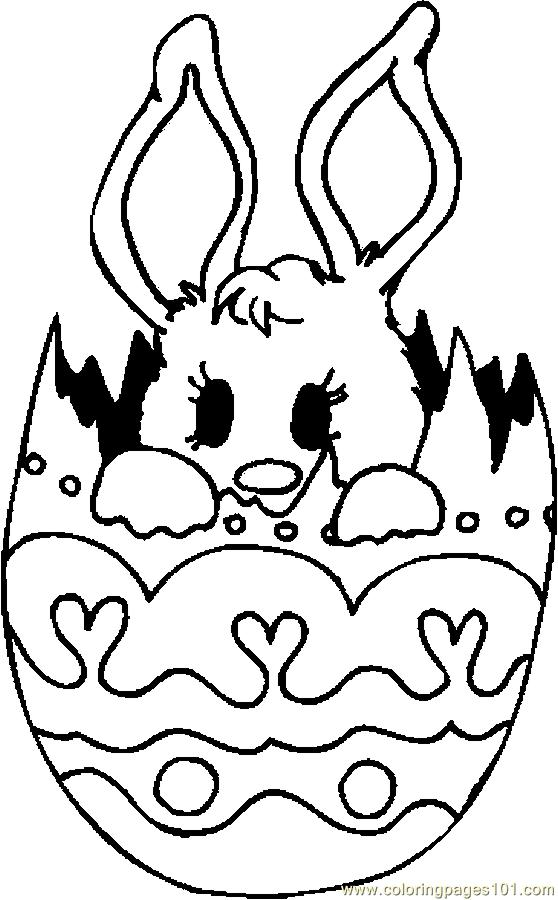 Bunny In Egg 3 Coloring Page