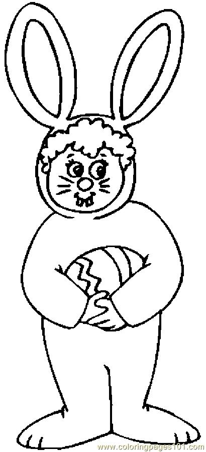 Child In Bunny Costume Coloring Page