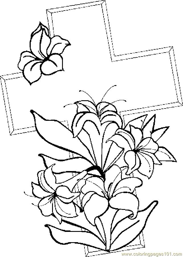 Easter Flowers Colouring Pages : Cross & lilies 1 coloring page free holidays pages