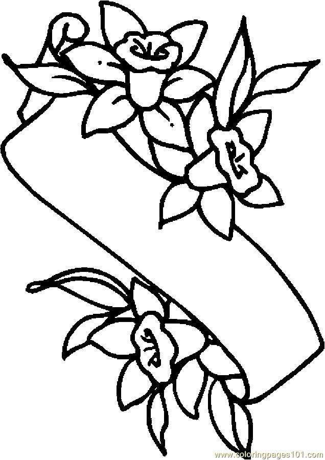 Easter Lily Banner Coloring Page