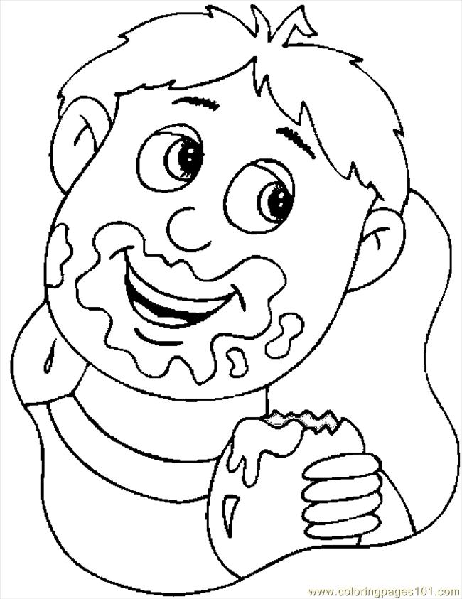 Kid Eating Chocolate Coloring Page