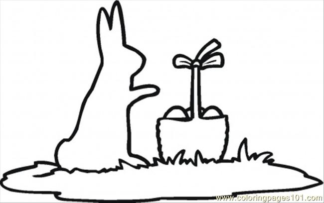 Rabbit And Easter Basket Outline Coloring Page