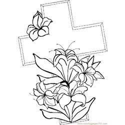 Cross & Lilies 1 coloring page