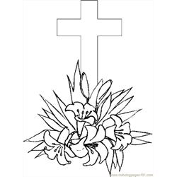 Cross & Lilies 4 coloring page