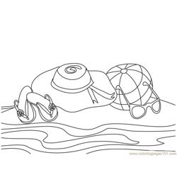 Beach Shoe Glass Free Coloring Page for Kids