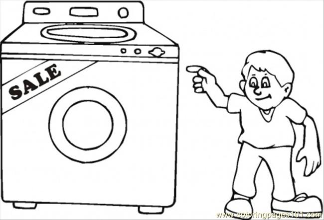 Buy Washing Machine On The Sales Coloring Page